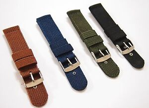5f59ae1be26 Nylon Fabric Canvas Military Watch Strap Band Brown Black Green Blue ...