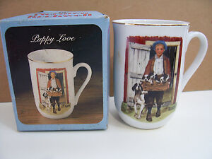 Norman-Rockwell-Museum-Puppy-Love-Porcelain-Gold-Trim-Mug-Coffee-Tea-Cup