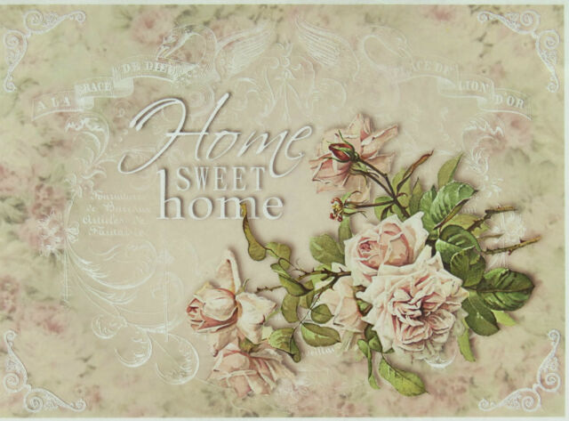 Rice Paper for Decoupage, Scrapbooking Sheets Home Sweet Home Rose Big