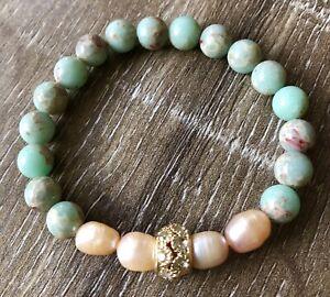 Stretchy-Pearls-And-Imperial-Stone-Bracelet-Pulsera-Elastica-De-Perlas