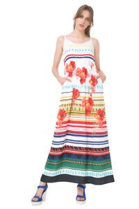 4cb5bc0b0 La imagen se está cargando Desigual-Blanco-Sofia-brillante-floral-rayada- vestido-maxi-