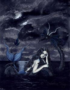 Fantasy Art PRINT Mermaid Dragon Sea Night Gothic Navy Blue Night Ocean Dark