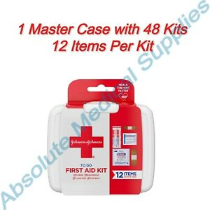 *48-Pack* Johnson & Johnson First Aid 12 Items Travel Kit To Go Case 100829573