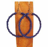 2 Handmade Solid Color Seed Bead Hoop Earring 8 Colors