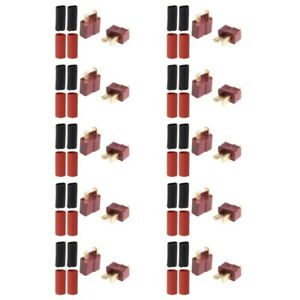 10-Pairs-Ultra-T-Plug-Connectors-Deans-Style-Male-Female-with-20pcs-Shrink-Tube