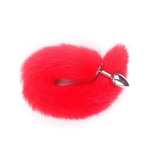 Funny Beginner Red Fox Faux Tail Plug Butt Stopper Anal Slicone Adult Toy Game E