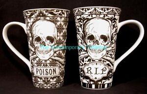NEW-222-Fifth-China-HALLOWEEN-SKULLS-2-Latte-Mugs-17oz-coffee-cider-chocolate