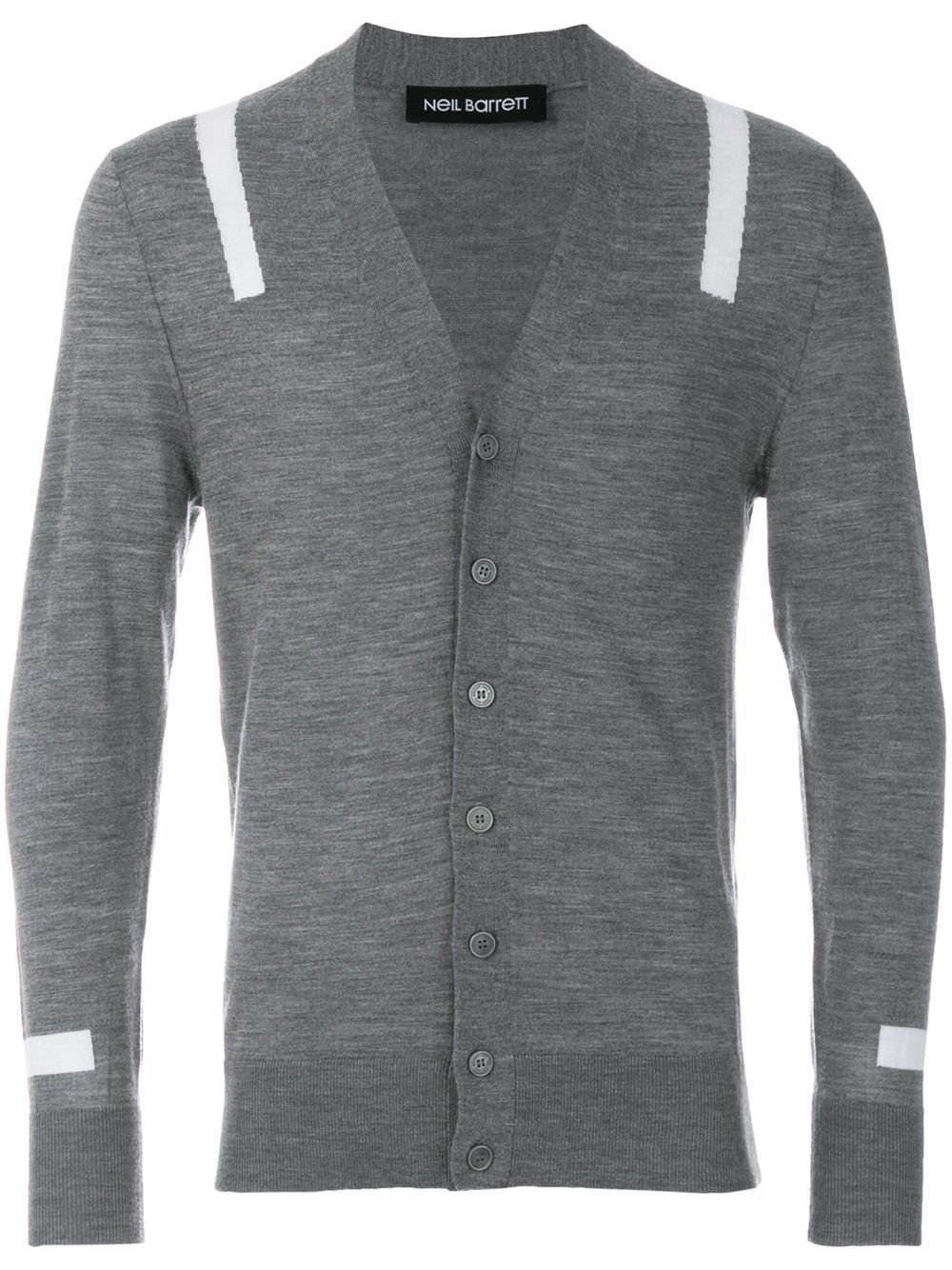 NEIL BARRETT Grau Fine Knit Wool, Silk & Cashmere Cardigan Sweater :