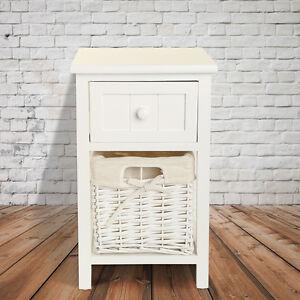 Blanco mesilla de noche c moda mesita de dormitorio mesa peque a mesillas ebay - Mesita noche pequena ...