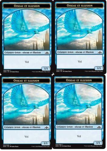 Mtg magic-token bird and illusion 1//1 x4-guilds of ravnica-token-vf