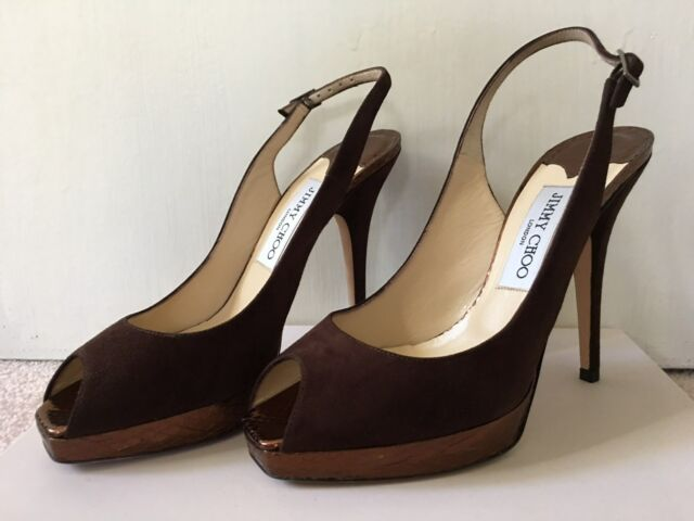7655a8fa201 Jimmy Choo 072 Clue Women Sling Back Sandal Suede Snake Brown Size 7.5 37.5  for sale online