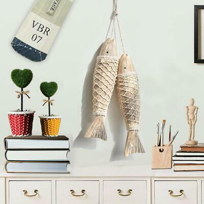 Handcrafted Hanging Wooden Fish Nautical Ornaments Antique Home Wall Decor