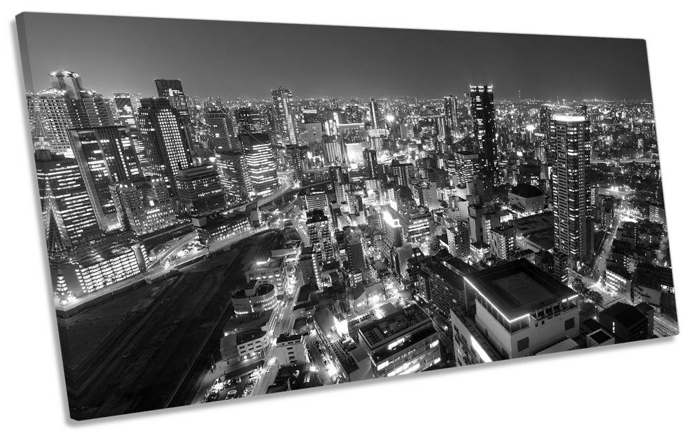 Osaka Japan Skyline B&W Bild PANORAMIC CANVAS Wand Kunst Drucken