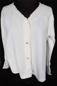 RARE-FRENCH-EDWARDIAN-1920-039-S-WHITE-COTTON-FLANNEL-INSIDE-BLOUSE-SZ-38-40