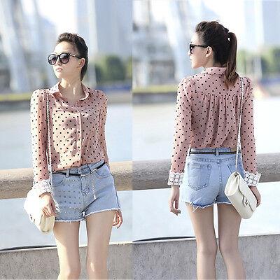 New Women Lapel Collar Dots Chiffon Shirt Long lace Sleeve OL Career Blouse Top