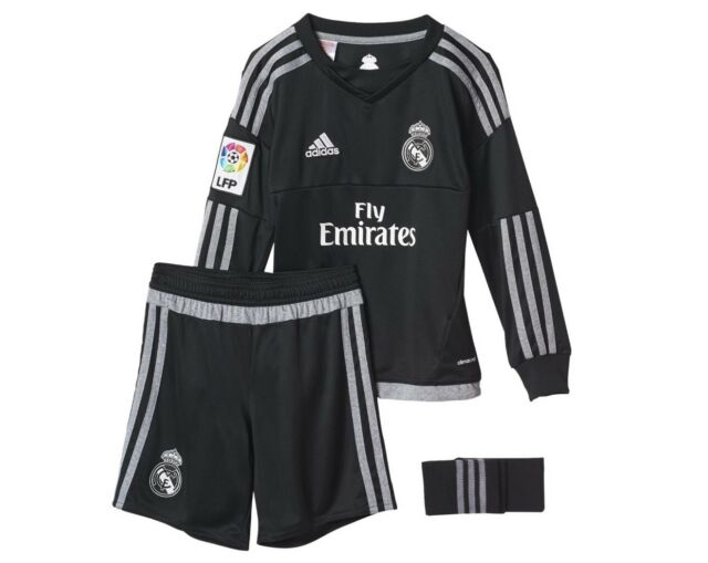 a98f80c45 adidas Kids Real Madrid Football Home Goalkeeper Kit Shirt Shorts ...