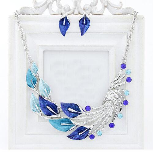 Luxe bleu vintage cubes Cristal Taillé Pendentif Paon Collier Boucles d/'oreilles Set