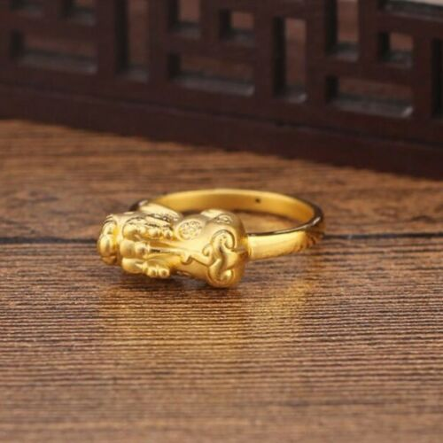 Vente chaude 999 Pure 24K Or Jaune 3D Bless Pixiu Woman/'s Lucky ring US Taille 5.5