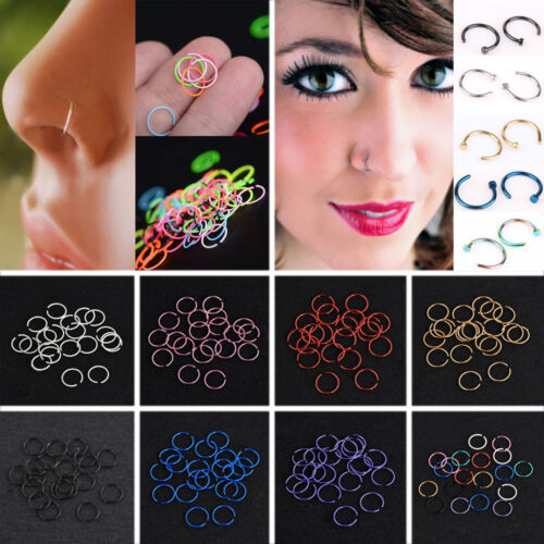 40Pc Charming Nose Ring Stud Surgical Steel  Lip Hoop Ring Body Piercing Jewelry