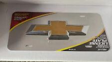 Chrome Chevy Bowtie Emblem License Plate w// 3D Gold Gloss Logo