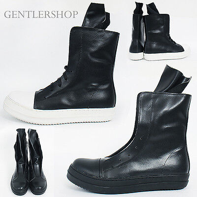 Mens Gothic Leather Over Tongue Lace up Zipper High Top Sneakerboots 902,GENTLER