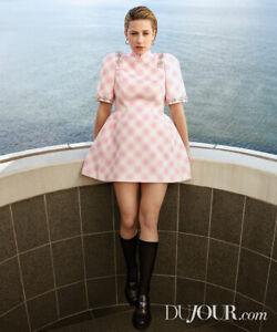 $850 SHUSHU/TONG NEW Sparkling Embellished Mini Dress UK12 Qipao Pink Check
