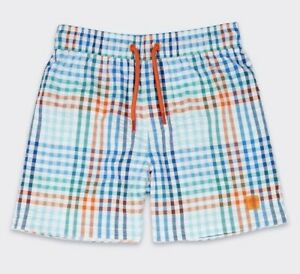 Neuf-Garcons-Shorts-De-Bain-Multi-check-Marks-amp-Spencer-avec-cordon-de-serrage-Sun-Safe-UPF-50
