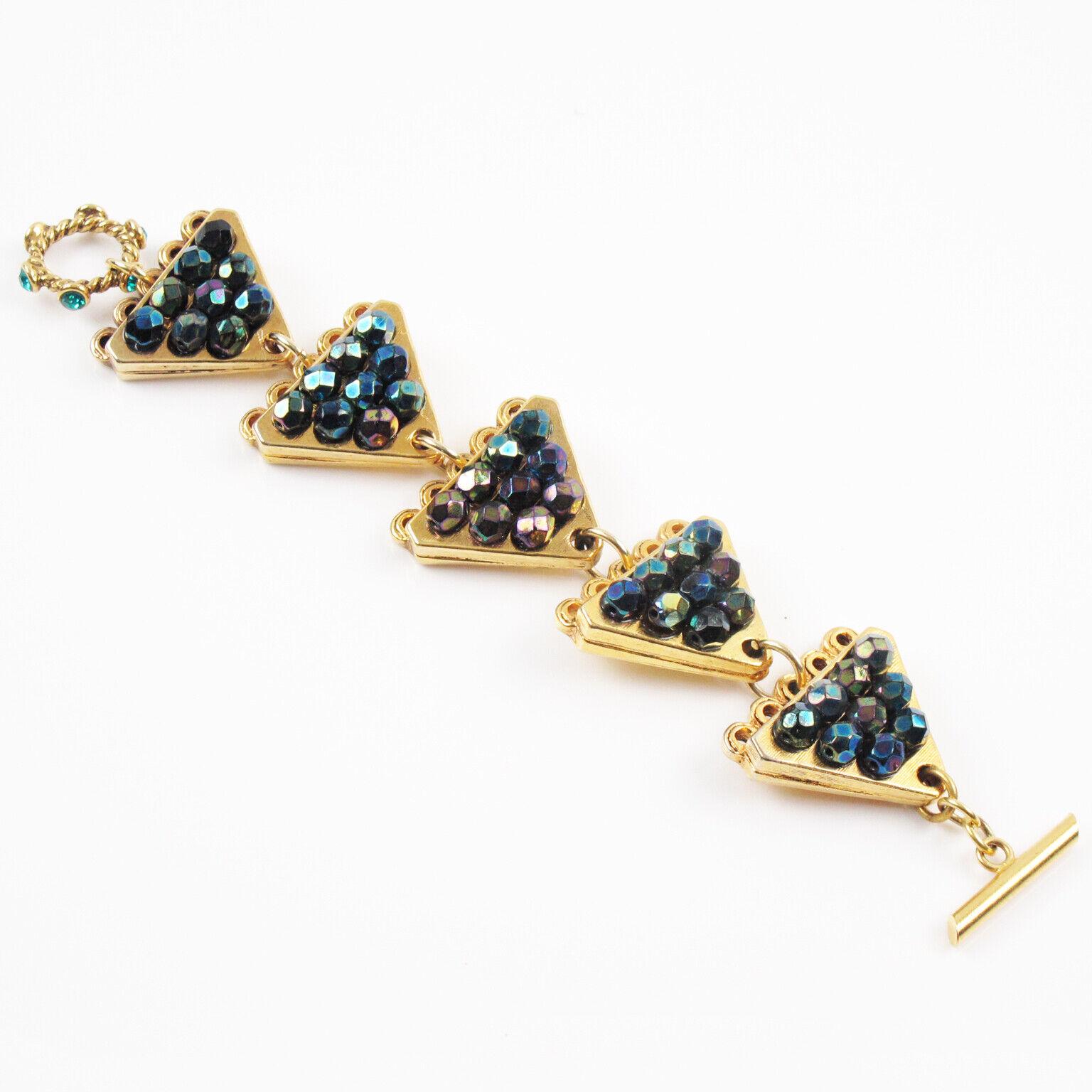 Vintage Claire Deve Paris Signed Link Bracelet Cr… - image 1