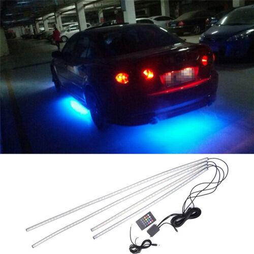 4X RGB LED Under Car Tube Strip Underbody Glow Neon Light Kit Wireless Control F