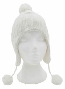 664015c2bfc Image is loading Girls-Glittery-Knitted-Peru-Hat-With-Pom-Poms-
