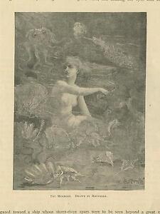 ANTIQUE-VICTORIAN-ARTISTIC-NUDE-OCTOPUS-SEA-SHELLS-CORAL-IMPRESSIONISM-ART-PRINT