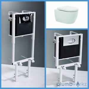 Toilet Wall Hung Mounted Bathroom Ceramic White BTW Adjustable Concealed Cistern