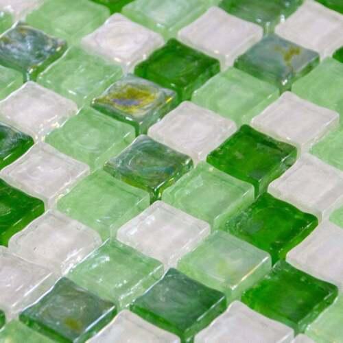 Luxury Gloss Green Mint/&White Mix Iridescent Glass Mosaic Wall Tiles Cut Sample
