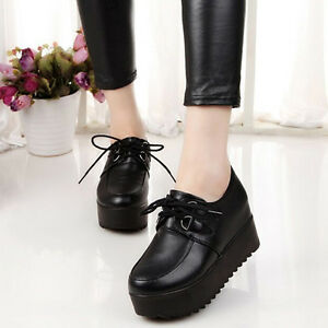 Ladies-High-Platform-Lace-Up-Flats-Shoes-Oxfords-Round-Toe-Creeper-Shoes