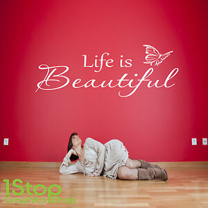 Life Is Beautiful Wall Sticker Quote Bedroom Lounge Home Wall Art