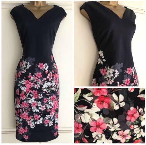 Nouveau Ex Wallis Bleu Marine Ivoire Rose Floral Scuba Shift Robe Taille 8-20