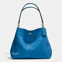 New Coach F57545 Lexy Shoulder Bag In Pebble Leather Lapis Blue NWT $395 MSRP