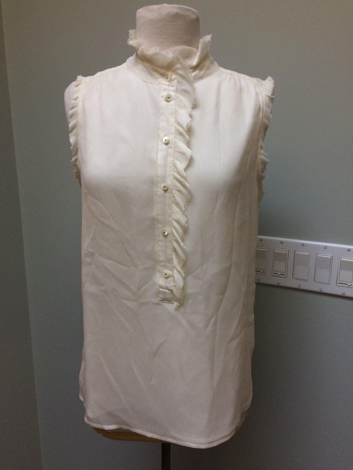 J Crew Sz 4 1 2 Button Sleeveless Shell Blouse Ivory 100% Silk Ruffles
