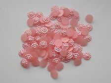 100x10mm Flat Back  Flower Resin Pearls Craft Wedding Scrapbook Gems Peachy Pink