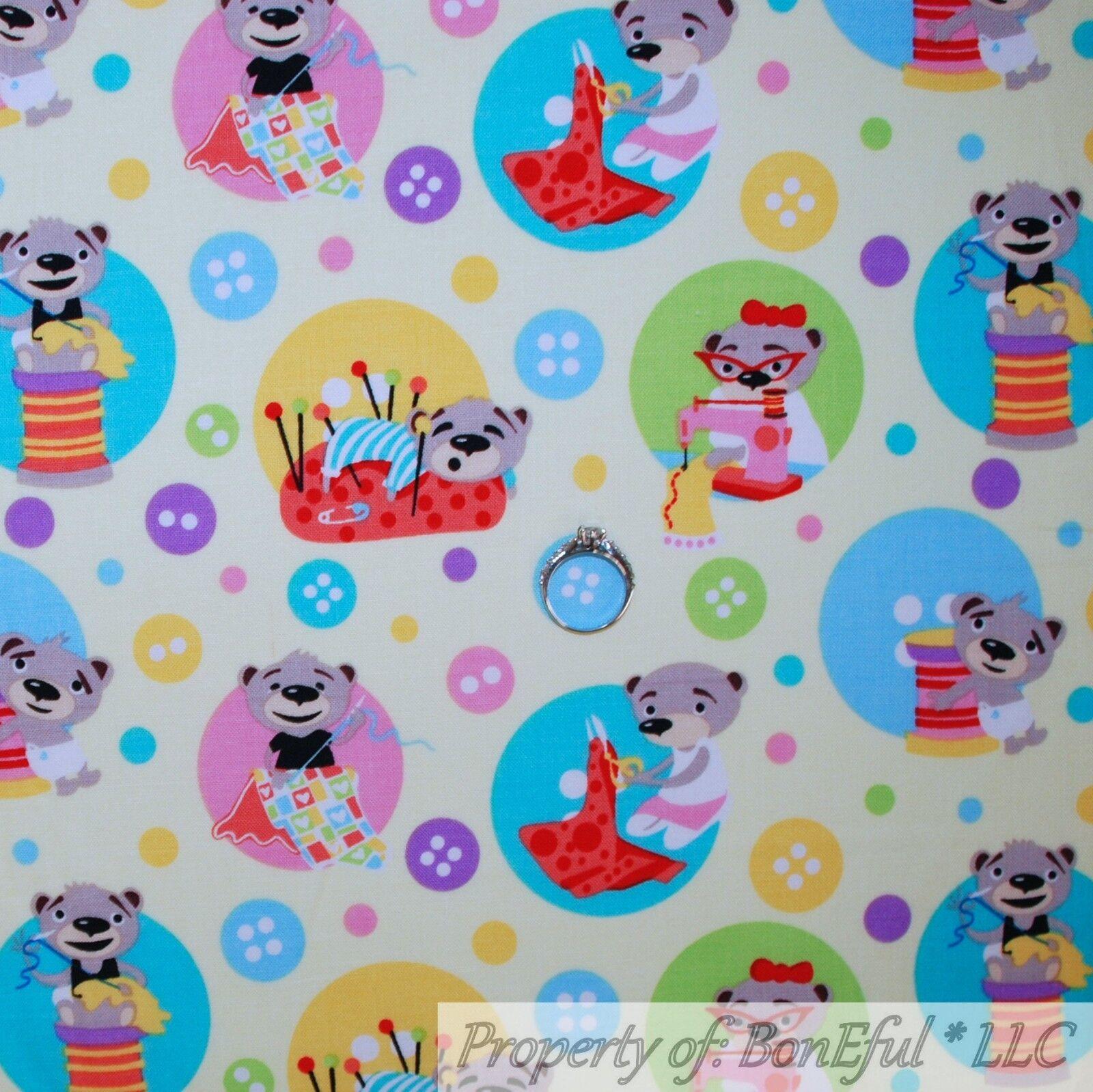 BonEful Fabric FQ Cotton Quilt White Pink Birthday Girl Balloon Elephant Border