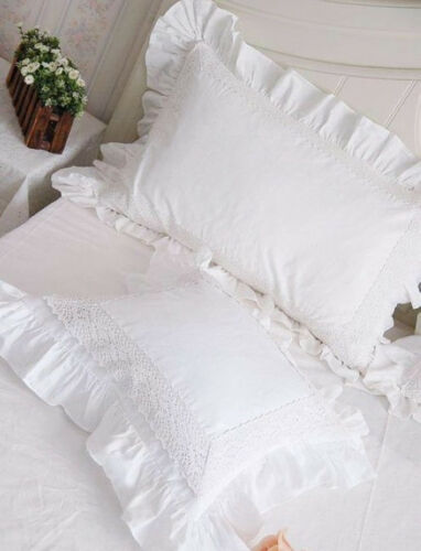 European Cushion Pillow Cover White Lace Ruffle Shabby Chic Home Bed Decor