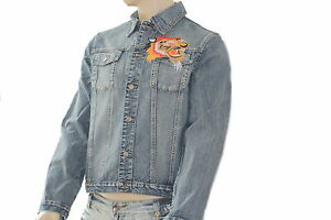 los angeles bb7b2 8be11 Details zu Jeans-Jacke Jean Jacket Jeansjacke Baumwolle Men Tiger Biker  Style Stickerei
