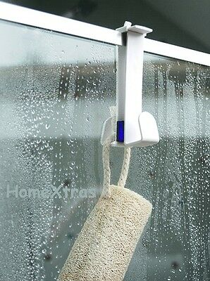Shower Screen   Double Hook - Bathroom -  Hook Storage Solution Adjustable
