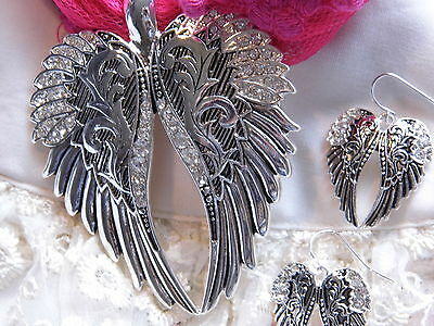 VALENTINES  WESTERN HEART GUARDIAN ANGEL CRYSTAL WINGS  pendant NECKLACE Earring