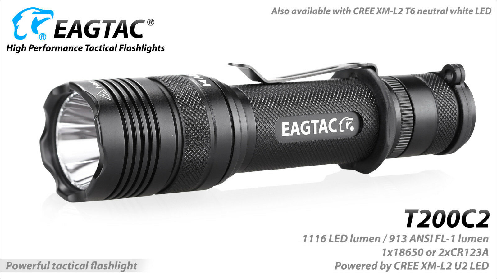 Eagletac T200C2 XM-L2 LED Flashlight - 1116 Lumens  Weapon KIT  w mount & remote