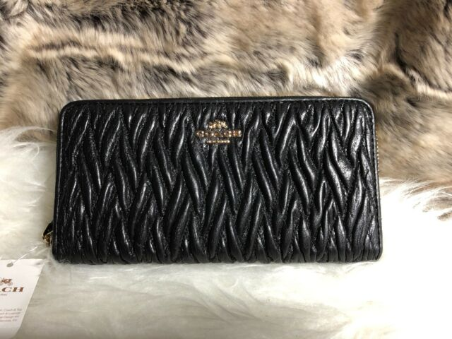 hot sales 80c96 76fc5 Coach Gathered Twist Leather Accordion Zip Wallet F54003 Black