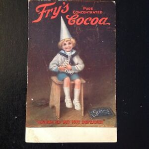 Details About Frys Chocolate Cocoa Antique Litho Advertising Postcard Disgraced Not