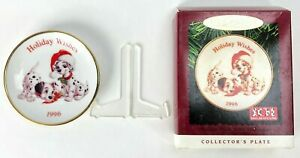 Vtg-Hallmark-101-Dalmatians-Collector-039-s-Plate-Christmas-Ornament-Tree