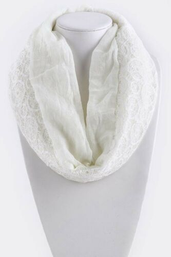 B73 Lace Dual Side Ivory Off White Geometric Pattern Infinity Scarf Boutique