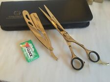 "Professional BARBER Hair Cutting Scissors 8"" AND RAZOR GOLD SET (2)"